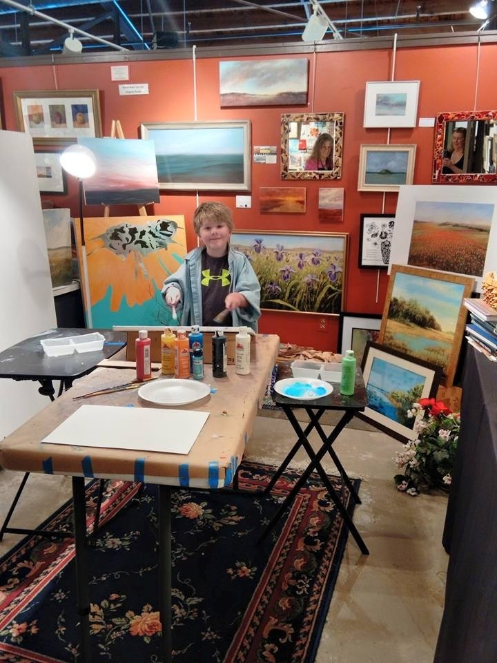 A young boy takes an art class in one of the Stirling Art Studios & Gallery studio spaces.