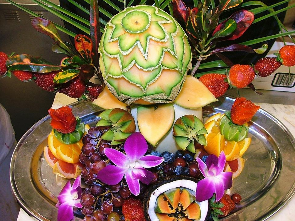 fancy fruit display for weddings from Delectables Catering in Florida