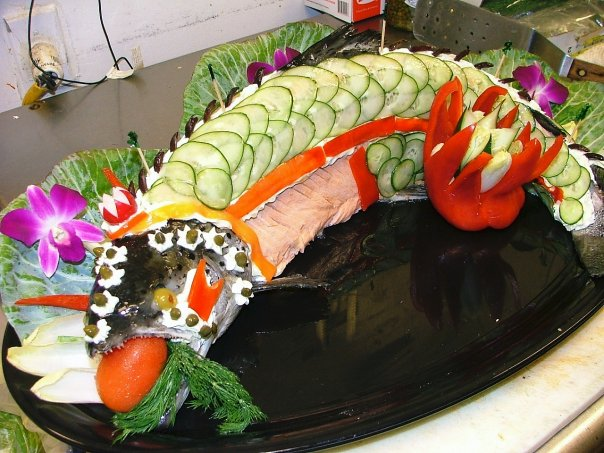 cooked salmon in the shape of a salmon from Delectables Catering in Florida